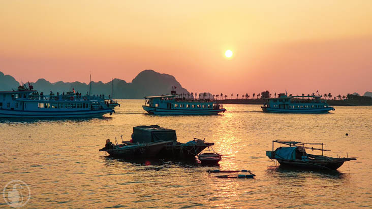 returning boats in Ha Long bay